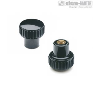 B.259-B Knurled grip knobs brass boss, threaded hole