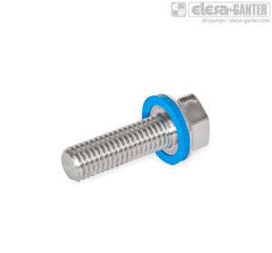 GN 1581-M10-20-PL-E Stainless Steel-Screws with epdm sealing ring