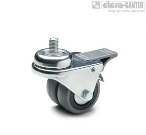 RE.C7-CBF-G Twin castors for the general public with steel bracket turning plate bracket and threaded centre pin, with brake