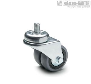 RE.C7-CBL-G Twin castors for the general public with steel bracket turning plate bracket and threaded centre pin, without brake