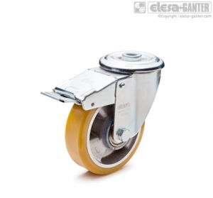 RE.F5-FSF-N Castors with steel bracket turning plate bracket and centre pass-through hole, with brake