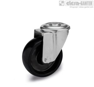 RE.F7-FBL-N-HT Castors turning plate bracket and centre pass-through hole, without brake, steel
