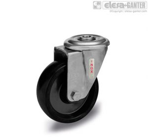 RE.F7-FBL-SST-N-HT Castors turning plate bracket and centre pass-through hole, without brake, stainless steel