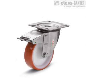 RE.FF-SBF-SST-N Castors turning plate bracket, with brake, stainless steel